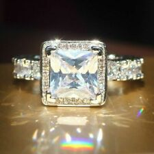 Sterling Silver Wedding Beautiful Unisex Ring White Princess & Round Cut Cz 925