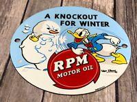 """VINTAGE DONALD DUCK RPM MOTOR OIL 6"""" PORCELAIN METAL WALT DISNEY WORLD GAS SIGN"""