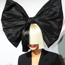 Shoulder-Length Half Black Half White Wig With Bangs Cosplay Party Nightclub Wig