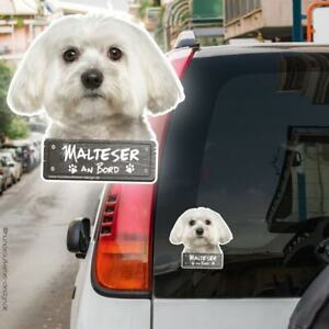 Malteser an Bord Autoaufkleber Hund Aufkleber 10x10cm Hundeaufkleber 0917