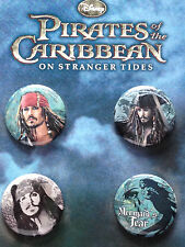 Disney Pirates of the Caribbean On Stranger Tides Mermaid 4 Button Pin Pack