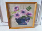 Vintage floral embroidered picture in nice wooden frame good condition