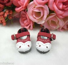 "12"" Blythe Pullip Momoko DAL Obitsu Bjd Doll Shoes Velvet Buckle Kitten Cat Red"