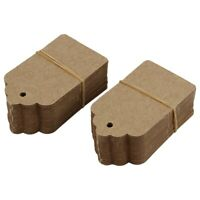 Pack 100 Rustic 40mmx70mm Scalloped Kraft Paper Card,Blank Brown Tag,Weddin E8I5