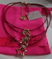 BIBI BIJOUX SIGNED GOLD PLATED STARS & CRYSTAL CHARMS LEATHER NECKLACE BNWT QVC