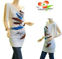 PLUS Gemstone Feather Open Shoulder Ivory Jersey Tunic Blouse Shirt Top 1X 2X 3X