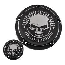 Black Skull Five Holes Edge Cut Derby Timer Cover for Harley Breakout FXSB FLHR