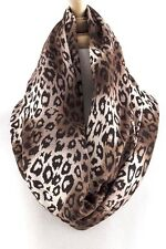 B62 Cheetah Leopard Animal Print Brown Black Beige Infinity Scarf