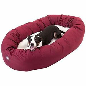 40 inch Burgundy & Sherpa Bagel Dog Bed By Majestic Pet Products