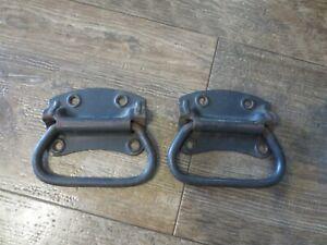 Vintage Pair Stanley Military Trunk Chest Metal Handles Antique Hardware