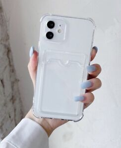 Gel Shockproof Card Case For iPhone 12 11 Pro Max Mini XR XS SE 7 8 Hold Cover