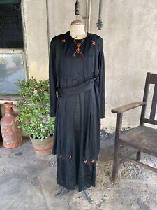 Antique 1910s Noir et Orange Robe Tricot Broderie Différencié Edwardian Vintage
