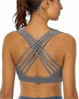 YIANNA Sports Bras for Women - Strappy Sports Bra Padded for, Grey, Size X-Large