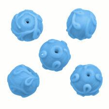 Murano Cuentas De Vidrio Azul claro patrón de remolino 17 mm paquete de 5 (P24/1)