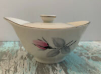 Vintage Syracuse China Bridal Rose Sugar Bowl with Lid White with Pink Gray USA