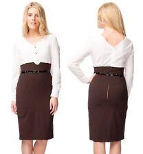 Ladies Long Sleeve Cream Blouse Top Belted Belt Skirt Formal Office Dress 14