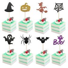 8pcs/set Halloween Cupcake Cake Toppers Pumpkin Ghost Baking Supplies J PM