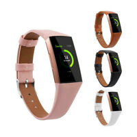 For Fitbit Charge 3 Watch Band Genuine Leather Wristband Replacement Band Strap