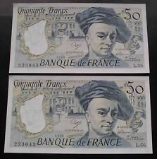 BILLETS NEUFS - Suite x2 Q. de la Tour 50 Francs 1989 L.56 Numeros Consecutifs