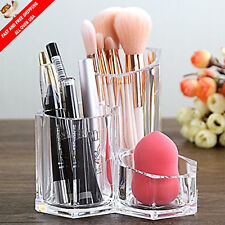 Acrylic Makeup Brush Holder Display Organizer Beauty Supply Storage Trio Cup