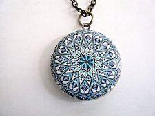 "Blue & White Round Enamel Painted Locket Pendant Necklace On 30"" Chain New"