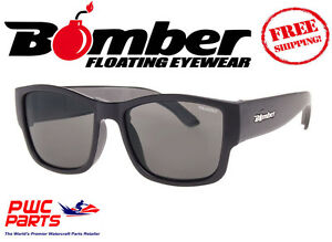 BOMBER POLARIZED Floating Sunglasses GOMER Bomb Matte Black w/ Smoke Lens GM111