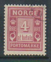 Norway - 1904, 4 ore Claret Postage Due stamp - F/U - SG D96
