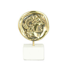 Alexander the Great, Handmade of Solid Brass on White Marble Sculpture, 11.5cm