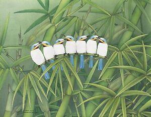 Hand painting Balinese Eastern Blue Birds 326