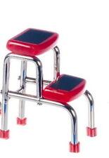 Red / Chrome Stepstool, Dolls House Miniature, Miniatures Stool