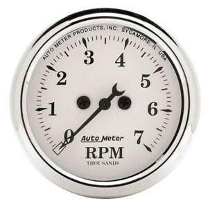 AutoMeter 1694 Old-Tyme White Air-Core In-Dash Tachometer,2-1/16