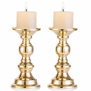 Set of 2 Gold Metal Pillar Candle Holders, Wedding Centerpieces