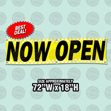"""72""""x18"""" Now Open Banner Grand Opening New Ownership Dealership Sale Display Sign"""