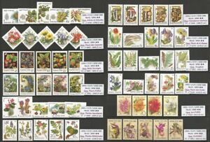 USSR 1980 - 1991 - Flowers, Trees, Shrubs, Mushrooms, Berries - MNH Stamps **