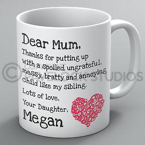 Personalised Mothers Day Mug Dear Mum Daughter Name Mummy Birthday Present Gift