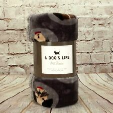 """A Dog's Life Soft Pet Throw Blanket 40"""" X 50"""" Protect Furniture Dog Graphic Gray"""