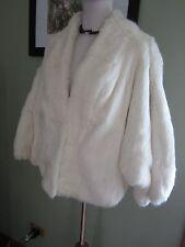 Elizabeth And James White Rabbit Fur Coat Jacket Size L