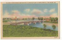 Columbia Avenue Bridge Three Rivers FORT WAYNE IN - Vintage Indiana Postcard
