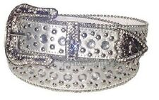 Women Western Rhinestone Crystal Bling Silver Stud Snap on Buckle Leather Belt L