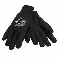 NHL San Jose Sharks Colored Palm Utility Gloves Black w/ Black Palm by FOCO