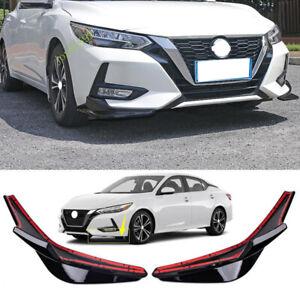 2pcs Glossy Black Front Bumper Protector Corner Trim For 2020-2021 Nissan Sentra