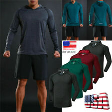 New Men's Hooded Sweatshirts Hoodies Pullover Long Sleeve T-Shirt Gym Workout US
