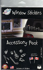 The Peel People Stick Figure Window Stickers Accessory & Flags Pack 59 Decals