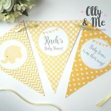 Personalised Baby Shower Bunting/Banner Party Decoration Elephant Yellow