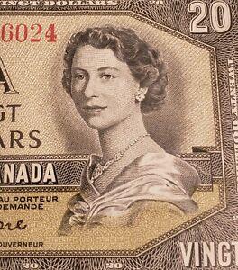 1954 Canada $20. Modified Portrait Banknote. Beattie & Coyne Signed.