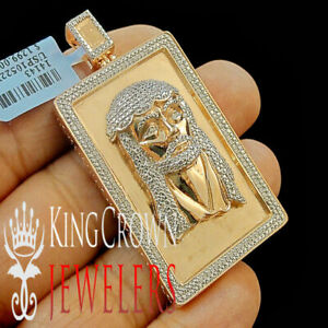 "Men's Rose Copper Tone Real Genuine .33ctw Diamond Jesus Head Charm Pendant 2.4"""
