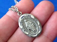 """Rare Our Lady of Grace Miraculous Saint Medal Pewter Gift Box 18"""" Diamond Cuts"""