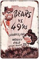 "1951 Chicago Bears vs 49ers Vintage Rustic Retro Metal Sign 8"" x 12"""