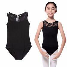 Black Splice Lace Leotard Ballet Dance Gymnastic Ages 5-15 Kids Girl UK SELLER
