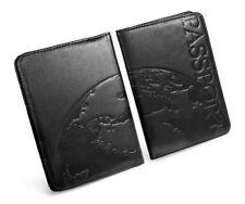 Tuff-Luv Personnalisé Napa Cuir Passport Portefeuille Porte Carte Boîte - Noir